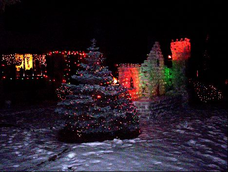 A miniature ice-sculpted castle in someone's front yard in Saskatoon
